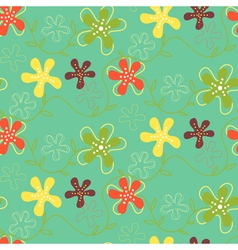 Retro flowers pattern green vector
