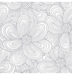Outline seamless pattern with doodle flowers vector