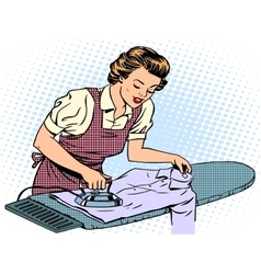 Woman housewife wife stroking his shirt iron vector