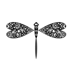 Insect decorative ornamental black dragonfly vector