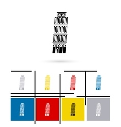 Leaning tower of pisa in italy icon vector