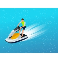 Young man on jet ski tropical ocean creative vector