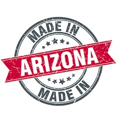 Made in arizona red round vintage stamp vector