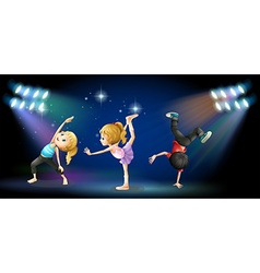 Three kids dancing on the stage vector