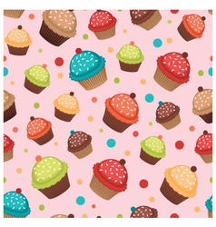 Colorful cupcakes pattern vector