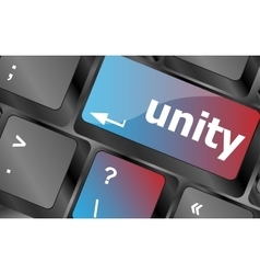 Unity word on computer keyboard pc key vector