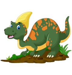 Cute dinosaur parasaurolophus cartoon posing vector
