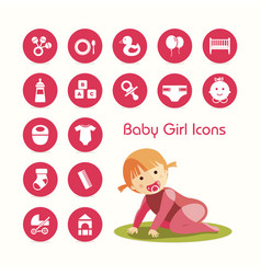 baby girl crawling and icons set vector image