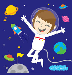 boy astronaut spaceman cute cartoon design vector image