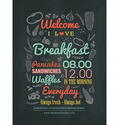 Breakfast cafe menu typography on chalk board vector