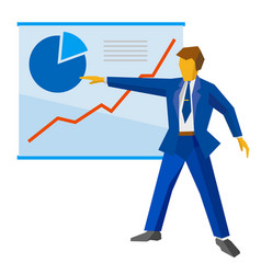 Businessman shows a poster with growing charts vector