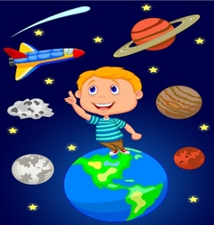 Cartoon boy looking at the sky vector image