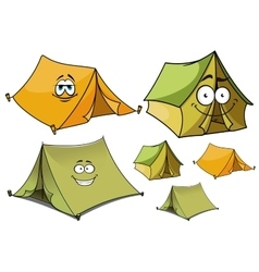 Cartoon green and yellow tents characters vector image vector image