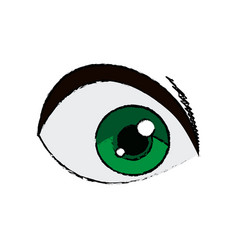 Cartoon green eye cartoon look vision vector