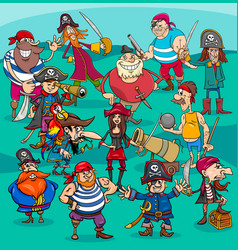 cartoon pirate characters group vector image vector image