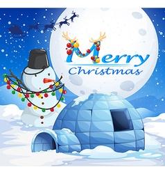 Christmas theme with snowman and igloo vector image