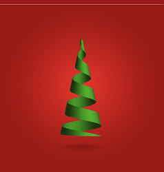 christmas tree made of green ribbon on red vector image