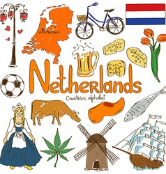 Collection of netherlands icons vector