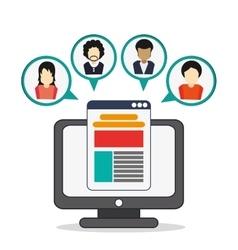 Computer avatar social network icon vector