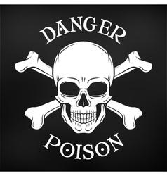 Danger skull on black background Jolly vector image