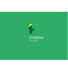 Development of creative logo funny cactus in vector