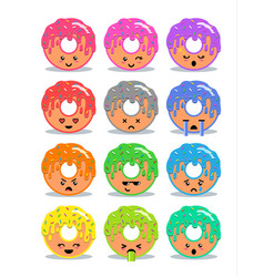 donut with glaze set of emoji facial expressions vector image
