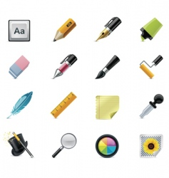 drawing writing tools icons vector image vector image