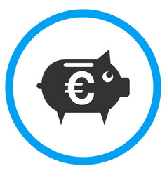 euro piggy bank rounded icon vector image vector image