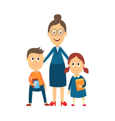 flat cartoon teacher and pupils vector image vector image