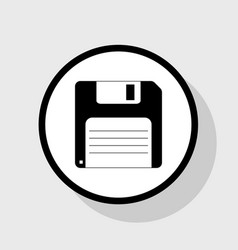 Floppy disk sign flat black icon in white vector