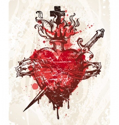 grunge hand drawn heart vector image vector image