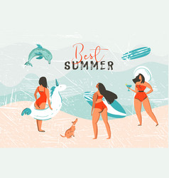 hand drawn abstract summer time vector image vector image