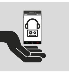 Hand mobile phone headphone cassette music vector