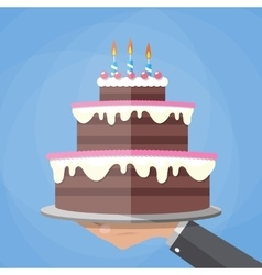 Hands holding chocolate layer cake vector