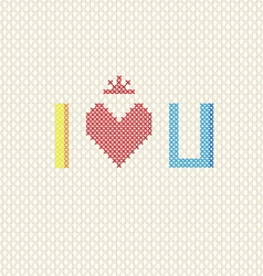 I love you on cross stitch style vector image