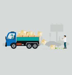 irresponsible cargo truck vector image vector image