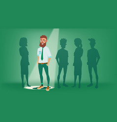 Man stand out from the crowd choosing vector