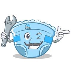 mechanic baby diaper character cartoon vector image