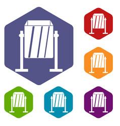 Metal dust bin icons set hexagon vector