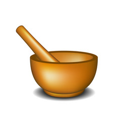 mortar and pestle in wooden design vector image