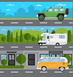 off road car camper van and retro bus on highway vector image