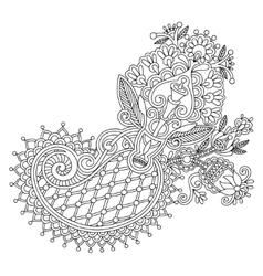 Original line art ornate flower design vector