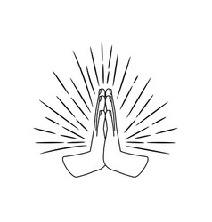 prayer hands sign sketch vector image