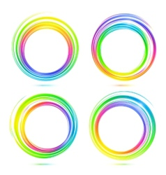 Rainbow abstract circle frames set vector image vector image