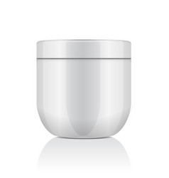round white plastic jar with lid for cosmetics vector image