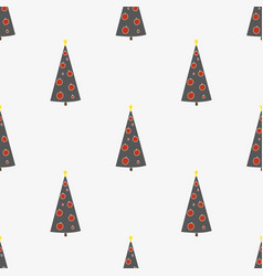 seamless pattern with hand-drawn christmas trees vector image vector image