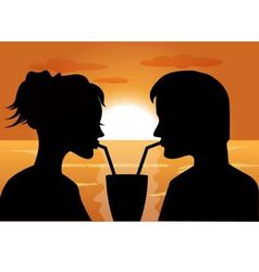 silhouettes of a couple in love at sunset vector image