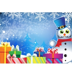 snowman and Christmas gifts vector image