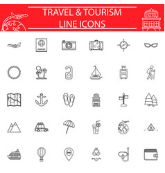 travel line icon set travel symbols collection vector image