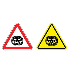 Warning sign attention Halloween Hazard yellow vector image vector image
